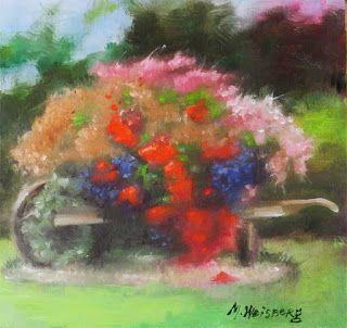 "Still Life Floral Fine Art Oil Painting ""Flowers in Wheel Barrow"" by Illinois Artist Marilyn Weisberg Still Life Floral Fine Art Oil Painting ""Flowers in Wheel Barrow"" by Illinois Artist Marilyn Weisberg"