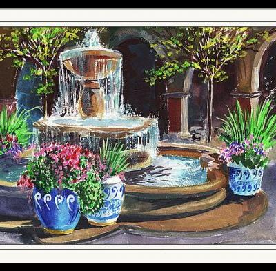 Courtyard With Fountain - Plein Air Painting - Concord California