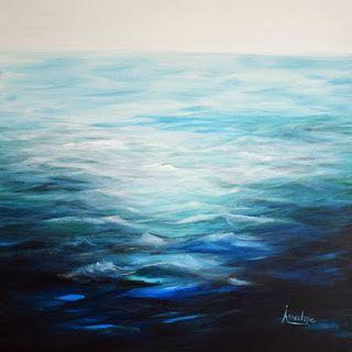 """Contemporary Abstract Seascape Painting """"In The Swim"""" by Contemporary Seascape Artist Arrachme"""