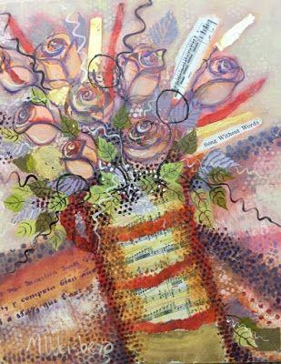 """Contemporary Abstract Flower Art Painting """"Song Without Words"""" by Illinois Artist Marilyn Weisberg"""