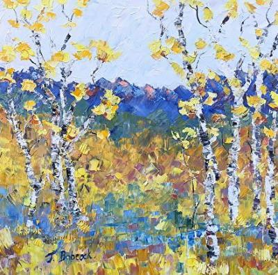 "Palette Knife Aspen Tree Landscape Painting ""Rejoice"" by Colorado Impressionist Judith Babcock"