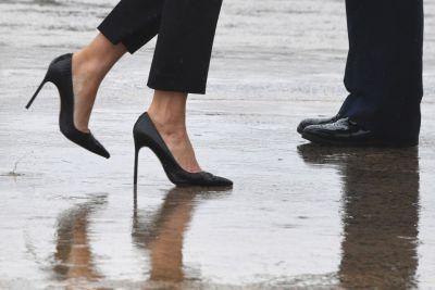 There was no pretense about Melania Trump's heels. But sometimes, a little pretense helps