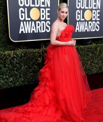 Lili Reinhart Makes Her Golden Globes Debut in Stunning Red Gown