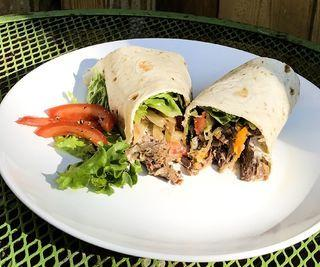 Healthy Crock-pot Pepper Beef Wraps