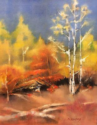 """Abstract Landscape Painting """"Kitty's Forest"""" by Illinois Artist Marilyn Weisberg"""