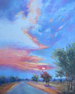 Breaking Through The Blues Sky, New Contemporary Landscape Painting by Sheri Jones