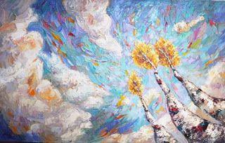 """New """"Soaring High"""" Palette Knife Aspen Tree Painting by Niki Gulley"""