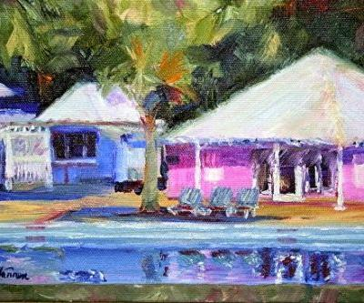 "Georgia Landscape,Beach Cottage Painting ""Reflections"" by Georgia Artist Pat Warren"