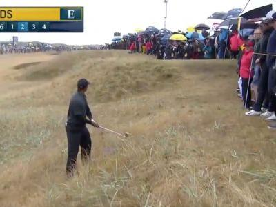 British Open 2018: Tiger Woods hit a shot directly at the fans at Carnoustie, and it did not end well