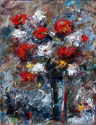 "Floral Still Life Painting Art Colorful Flowers, Roses ""Red,White and Blue"" by Texas Artist Debra Hurd"