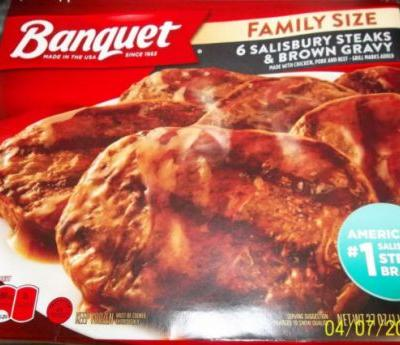Banquet Salisbury steak meals that may contain bone fragments pulled from shelves