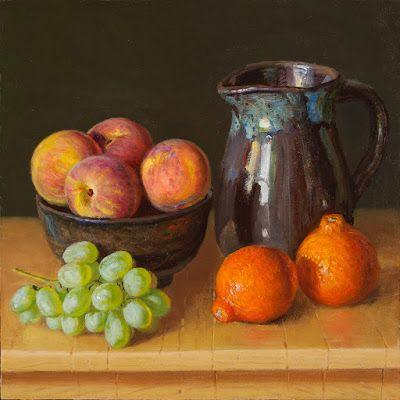 Peaches, grapes and orange still life oil painting original