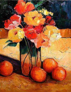 """Still Life Fruit and Flowers Contemporary Painting """"Fruit and Flowers"""" by Colorado Mixed Media Abstract Artist Carol Nelson"""