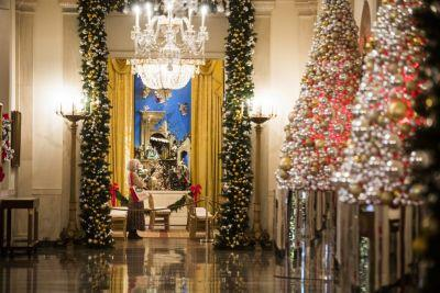 White House unveils the Obamas' last holiday decorations