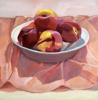 Nectarines in White Bowl on Pink Cloth