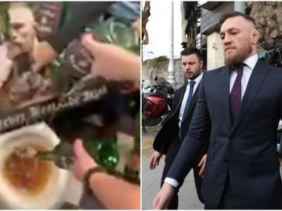 An enraged pub owner filmed himself pouring Conor McGregor's whiskey down the toilet because he is 'not a true representative of the Irish people'