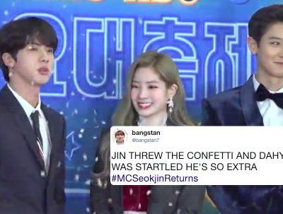 This Video Of Jin From BTS Throwing Confetti On Himself, Dahyun, & Chanyeol Is Such A Mood