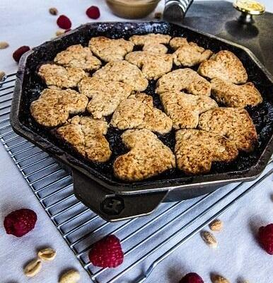 Vegan Peanut Butter and Jelly Cobbler