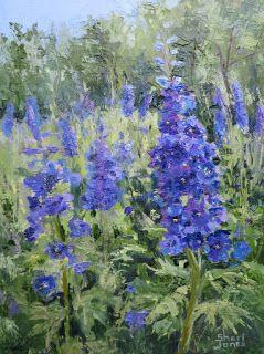 Delphinium by Design, New Contemporary Floral Painting by Sheri Jones