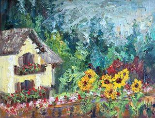 """Cottage in the Woods"" Oil Painting of Slovenia by Niki Gulley"