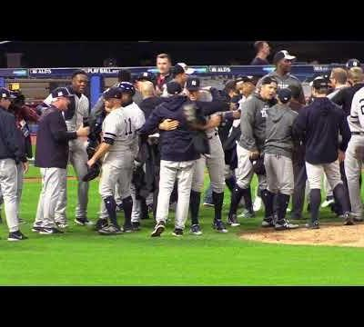 Warning, this video contains disturbing content: Yankees celebrate ALDS series win at Progressive Field