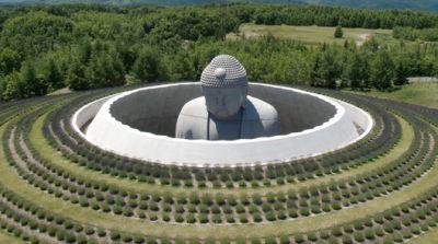 Tadao Ando Envelops Giant Buddha Statue in Lavender-Planted Hill Temple