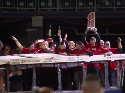 Watch: Boston Red Sox visit Patriots before game in a duck boat