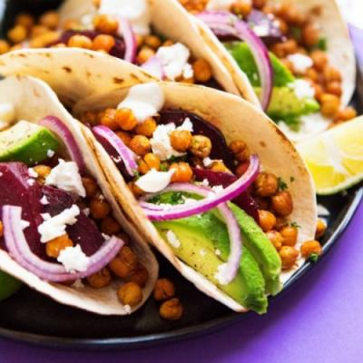 Roasted Beet and Chickpea Tacos