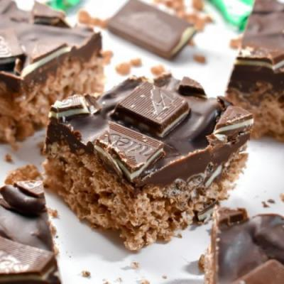 Mint Chocolate Rice Krispie Treats