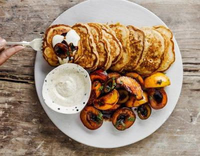 Buttermilk pancakes with balsamic-cured stone fruit recipe