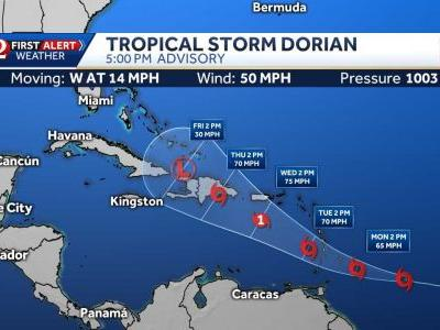 Tropical Storm Dorian strengthens, expected to become hurricane