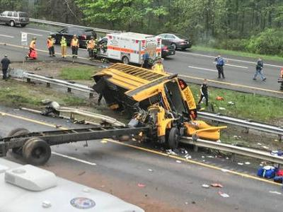 School bus 'mangled' after crash with dump truck in Mount Olive, New Jersey