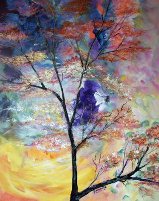 """Abstract Landscape, Sky,Nature Art Painting, """"Breath of Nature"""" by International Contemporary Abstract Artist Arrachme"""