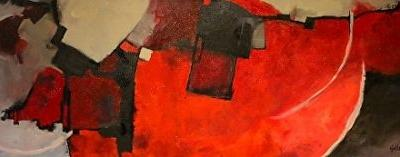 "Contemporary Acrylic Abstract Art Painting, ""Color Study Red"" by Colorado Mixed Media Abstract Artist Carol Nelson"