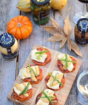Roasted Sweet Potato Medallions with Blue Cheese and Mustard Sauce