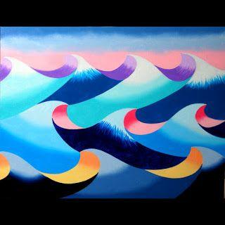 Mark Webster - Abstract Geometric Ocean Seascape Oil Painting 2012-04-25