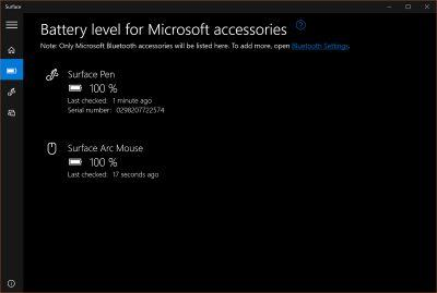 Surface app now displays Microsoft accessory battery levels