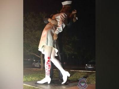 Vandals paint ' MeToo' on 'Unconditional Surrender' statue in Sarasota