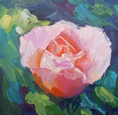 Floral Painting, Flower Painting, Rose Painting, Small Oil Painting, Daily Painting, 8x8x1.5