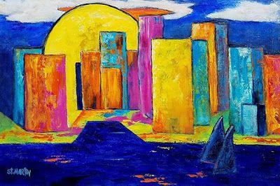 "Contemporary Cityscape Painting, Colorful Abstract ""Sunrise Over the City"" by Florida Impressionism Artist Annie St Martin"