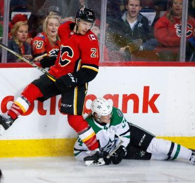 Dallas beats Calgary 2-1; Bishop exits with apparent injury