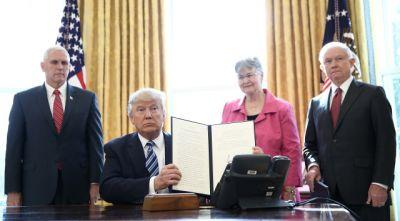 Trump welcomes new AG Sessions with executive orders targeting crime