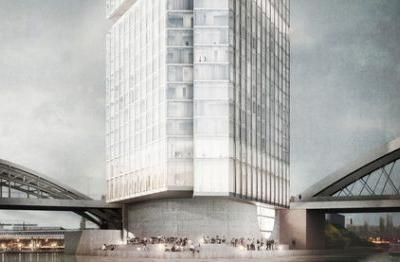 """Barkow Leibinger Designs Triangular """"Lighthouse"""" Hotel and Boarding House for Frankfurt's Waterfront"""
