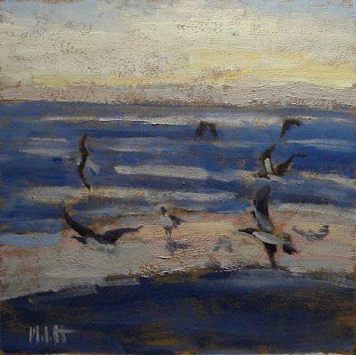Sunset on the Beach Seagulls Oil Painting Heidi Malott Original Art