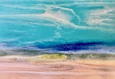 "Contemporary Beach Art, Abstract Seascape Painting, Coastal Art ""Caribbean Melody"" by International Contemporary Landscape Artist Kimberly Conrad"