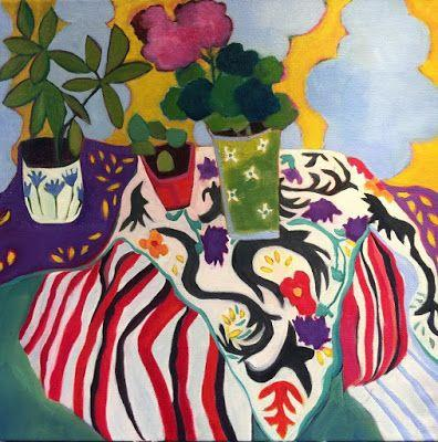 "Contemporary Abstract Still Life Art,Bold Expressive Painting ""Balcony"" by Santa Fe Artist Annie O'Brien Gonzales"