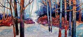 """Mixed Media Abstract Landscape Painting """"Frosty Morning"""" by Colorado Mixed Media Artist Carol Nelson"""