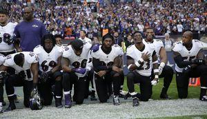 The Latest: About 24 NFL players kneel for anthem in London