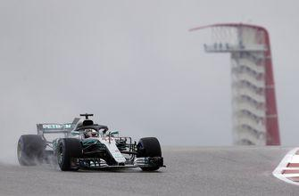 Hamilton fastest in wet 1st practice at US Grand Prix