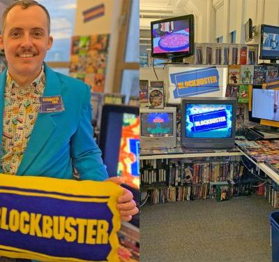 A man created a Blockbuster replica in his office, and it looks just like the video stores from the '90s